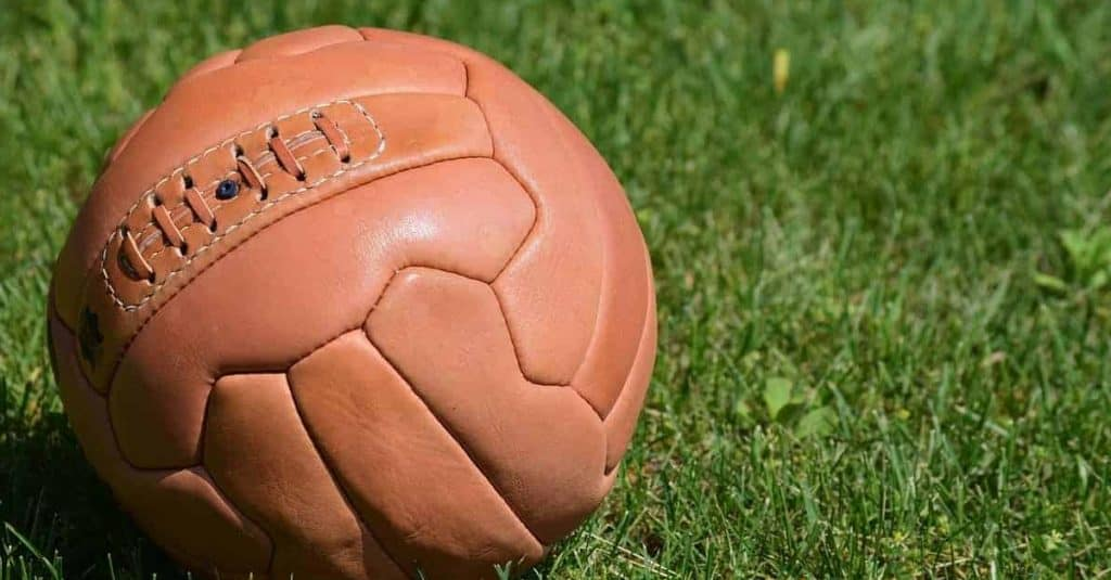 Representing the history of soccer is an old football that was first used in modern football