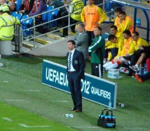 Gary Speed on sidelines managing Wales Soccer Team