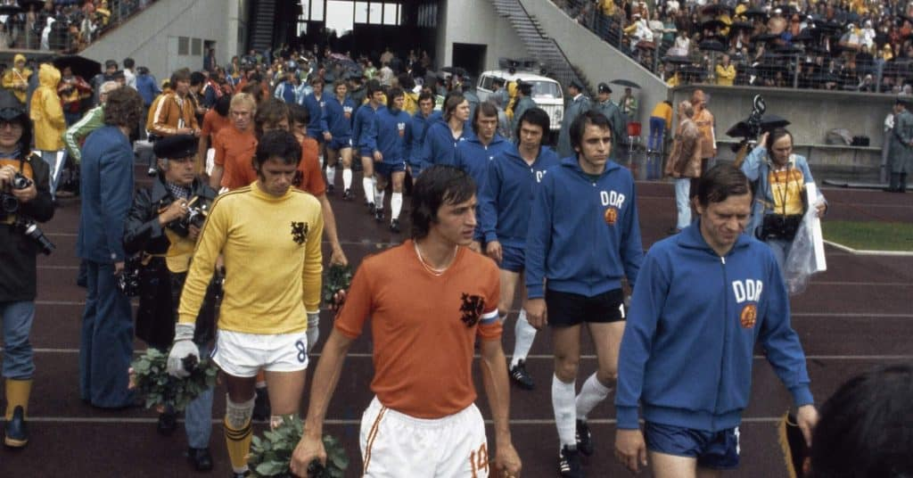 1974 Netherlands World Cup Team walking out to play West Germany