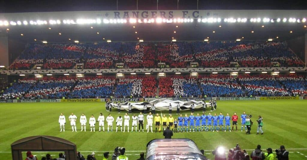 Glasgow Rangers Soccer Players About To Play In Ibrox Stadium