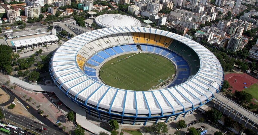 overhead shot of the Maracana Stadium and where it is located