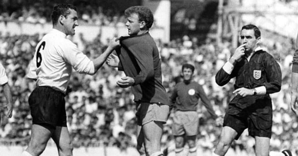 dave mackay getting angry with billy bremner in a league game