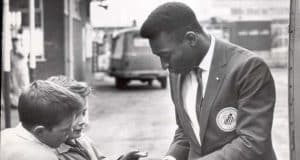 pele signing autographs for children in Sheffield