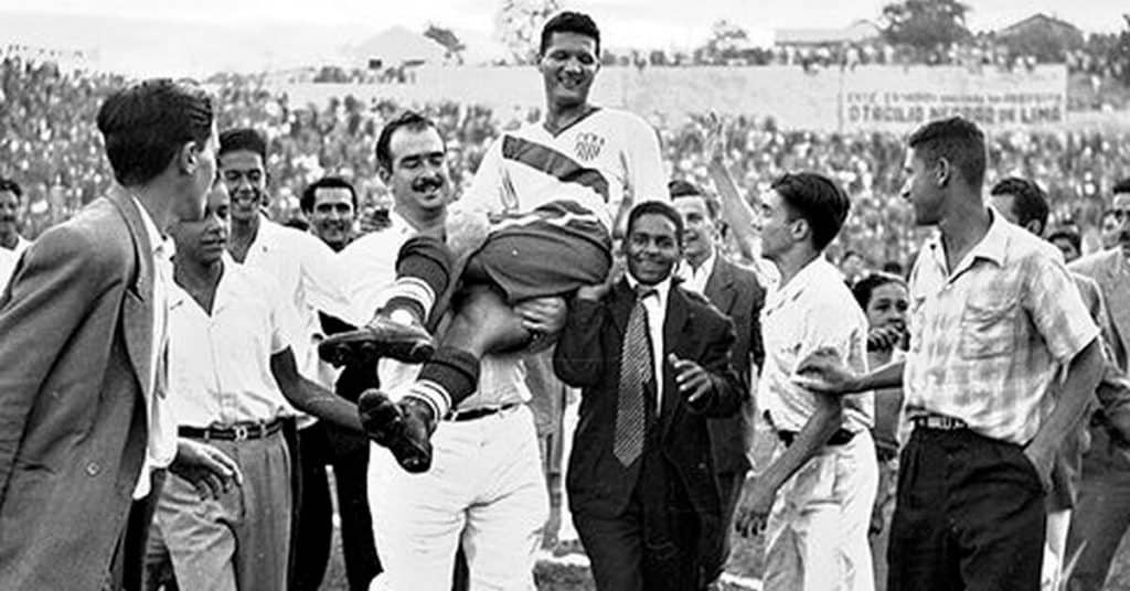 usa soccer team getting carried off after defeating england at 1950 world cup
