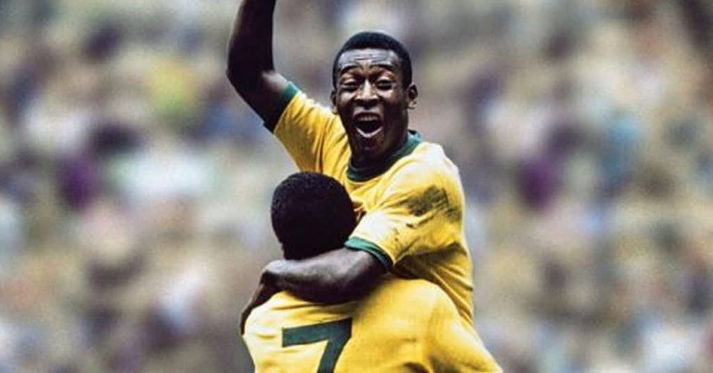 One of the forwards in soccer, Pele, celebrates a goal his just scored at the world cup